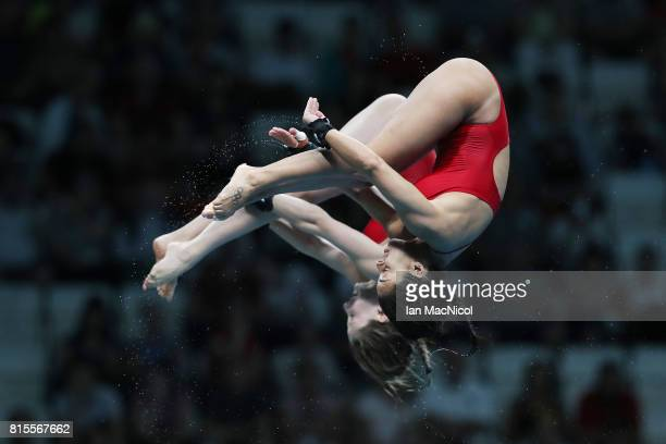 Meaghan Benfeito and Caeli McKay of Canada competes in the final of the Women's 10m Synchro Platform during day three of the 2017 FINA World...