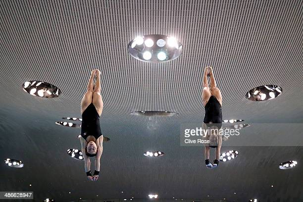 Meaghan Benfeito and Roselin Filion of Canada practice prior to the Women's 10m Synchro Platform Final during day one of the FINA/NVC Diving World...