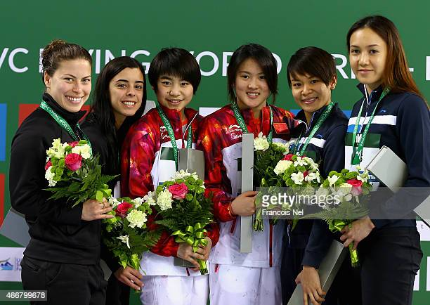 Meaghan Benfeito and Roseline Filion of Canada Huixia Liu and Ruolion Chen of China and Jun Hoong Cheong and Mun Yee Leong of Malaysia pose with...
