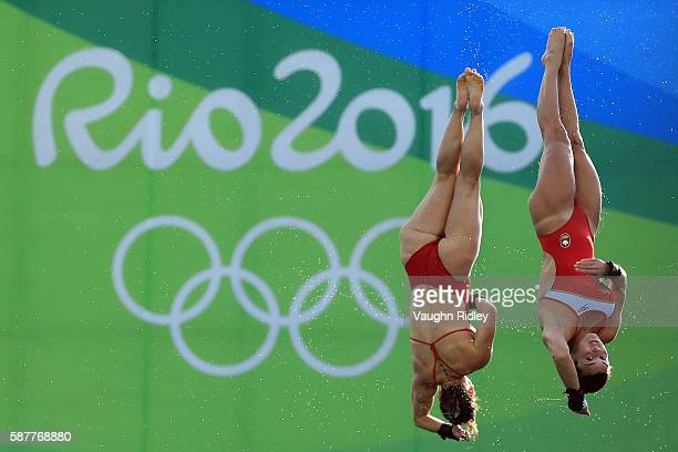 Meaghan Benfeito and Roseline Filion of Canada win Bronze in the Women's Synchronised 10m Final on Day 4 of the Rio 2016 Olympic Games at the Maria...