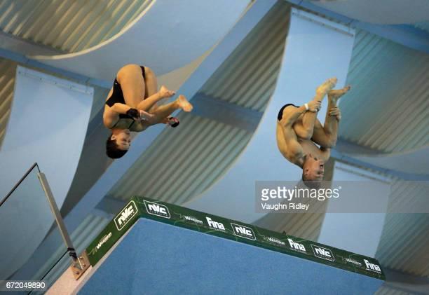 Meaghan Benfeito and Vincent Riendeau of Canada compete in the Mixed 10m Final during the 2017 FINA Diving World Series at the Windsor International...