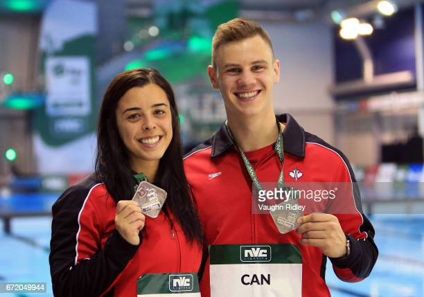Meaghan Benfeito and Vincent Riendeau of Canada wins Silver in the Mixed 10m Final during the 2017 FINA Diving World Series at the Windsor...