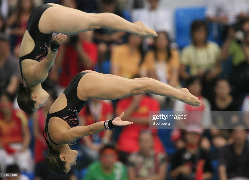 Meaghan Benfeito, bottom, and Roseline Filion both of Canada : News Photo