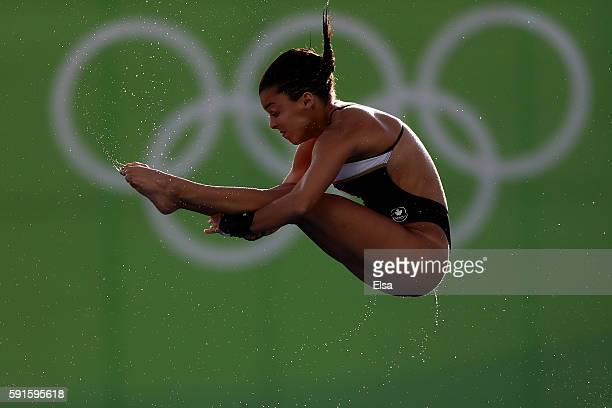 Meaghan Benfeito of Canada competes during the Women's 10m Platform Diving preliminaries on Day 12 of the Rio 2016 Olympic Games at Maria Lenk...