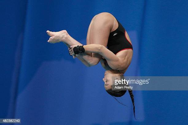 Meaghan Benfeito of Canada competes in the Women's 10m Platform Diving Final on day six of the 16th FINA World Championships at the Aquatics Palace...