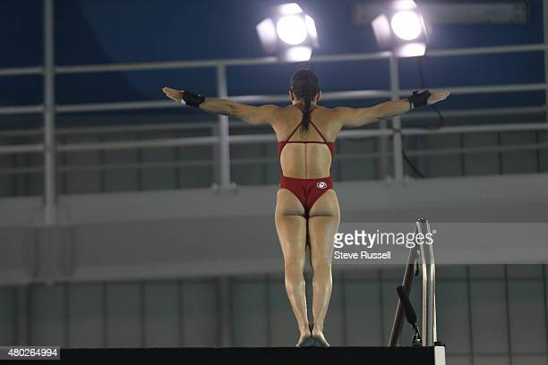 TORONTO ON JULY 10 Meaghan Benfeito of Canada launches into her first dive a Back 2 1/2 somersault with 1 1/2 twist in the pike position in the...