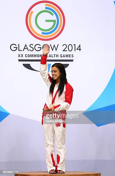 Meaghan Benfeito of Canada poses during the medal ceremony for the Women's 10m Platform Final at Royal Commonwealth Pool during day eight of the...