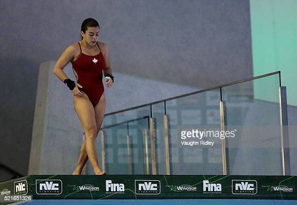 Meaghan Benfeito of Canada wins Bronze in the Women's 10m Final during Day Two of the FINA/NVC Diving World Series 2016 at the Windsor International...