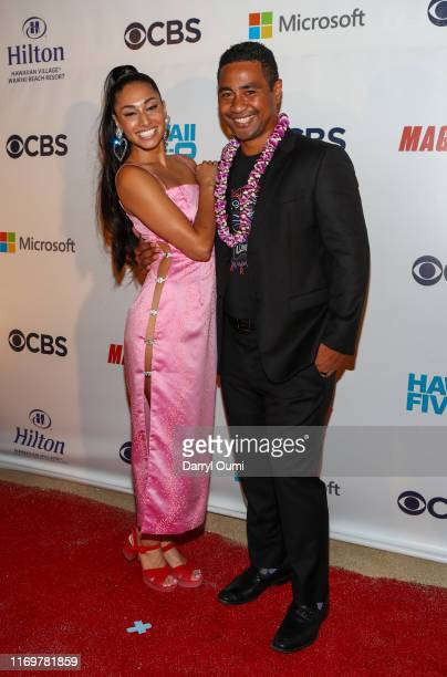 """Meaghan Rath and Beulah Koale pose for a photo before attending the Sunset On The Beach event celebrating the 10th season of """"Hawaii Five-0"""" and..."""