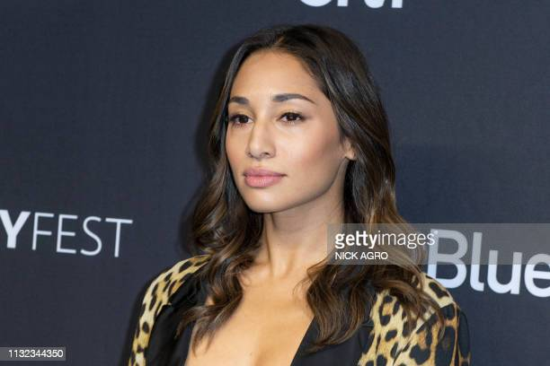 Meaghan Rath arrives for the Paley Center for Media's 2019 PaleyFest 'Hawaii Five0' 'MacGyver' and 'Magnum PI' on March 23 2019 at the Dolby Theater...