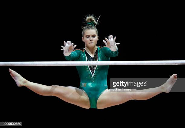 Meaghan Smith of Ireland competes in the uneven bars during Rotation 4 of the Team Women event qualification subdivision 1 during the Team Women...