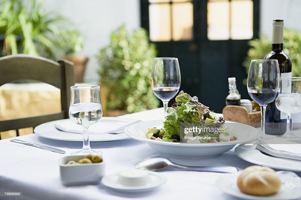 A meal in a restaurant : Stock Photo