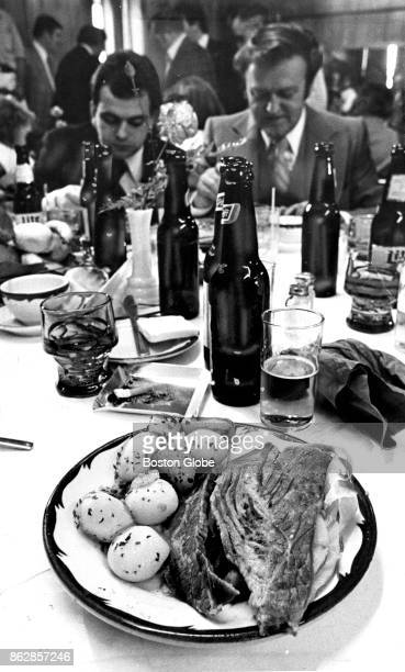 A meal of corned beef and cabbage sits on a table the South Boston Social Club on Apr 2 1978