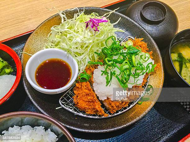 Meal of Pork Belly Cutlet with Grated Daikon Radish and Citrus Sauce