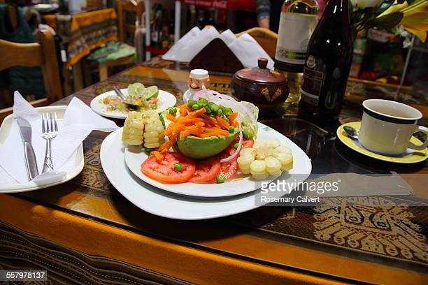 Meal of vegetables in covered market, Cusco, Peru.