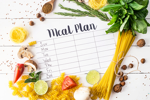 A meal plan for a week on a white table among products for cooking - pastas, basil, vegetables, lime, seeds, nuts and spices. Top view, flat lay, copyspace 980276548