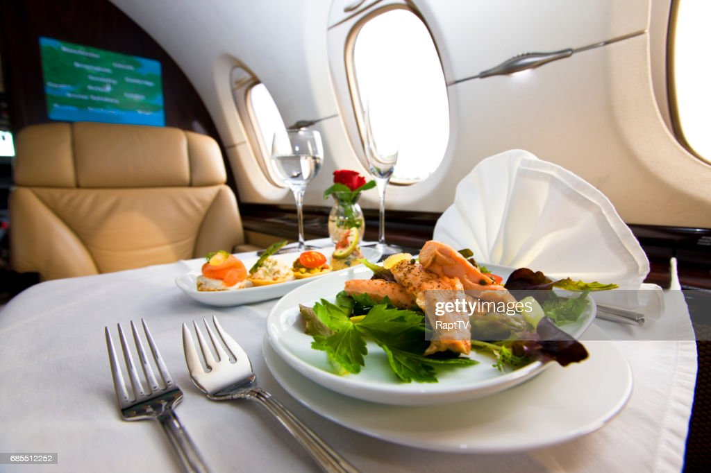 A Meal served onboard a business jet. : Stock Photo
