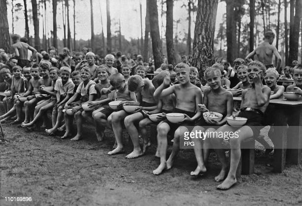 Meal time at the summer health camp for the children of Berlin Germany circa 1930 Seven hundred attend the camp at one time