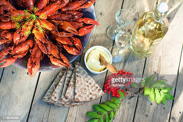 Meal with crayfishes on outdoor table