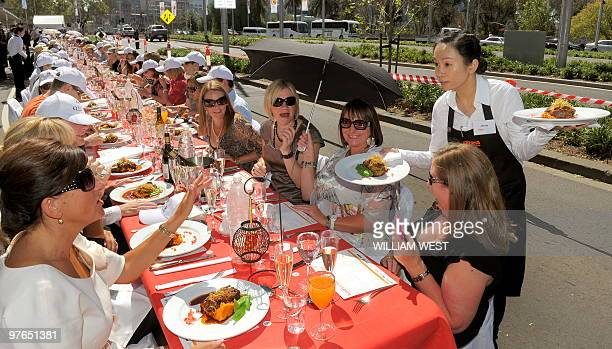 Meals are served at an event named 'World's Longest Lunch' at this year's Melbourne Food and Wine Festival in Melbourne on March 12 2010 A 400...
