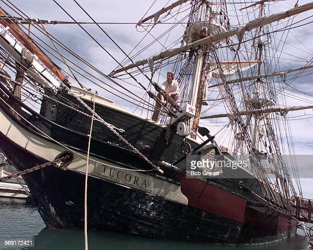MEAmistadship1BG9Apr97––Barton Hickson on the bow of the Orange County Marine Institute's PILGRIM that has been renamed TECORA She sets sail on...