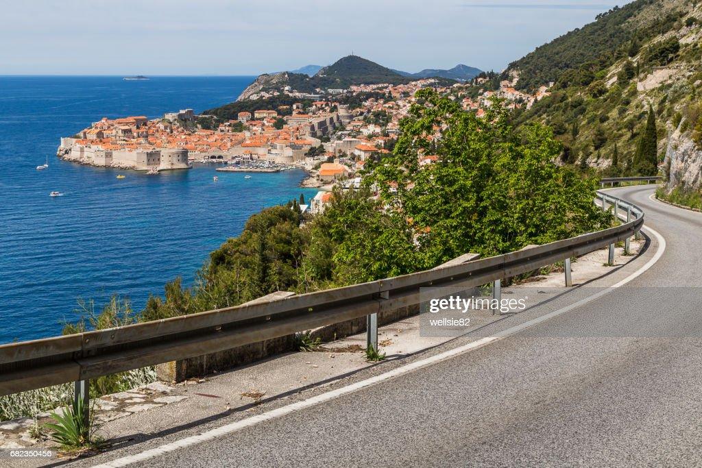 Meandering coastal road towards Dubrovnik : Stock Photo
