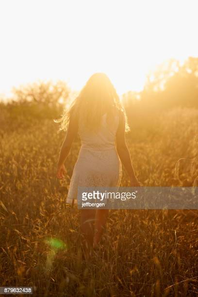 meandering through fields of gold - donne bionde scalze foto e immagini stock