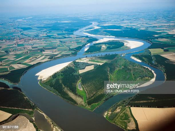 Meanders and oxbow lakes on the Po river south of Casalmaggiore Lombardy Italy