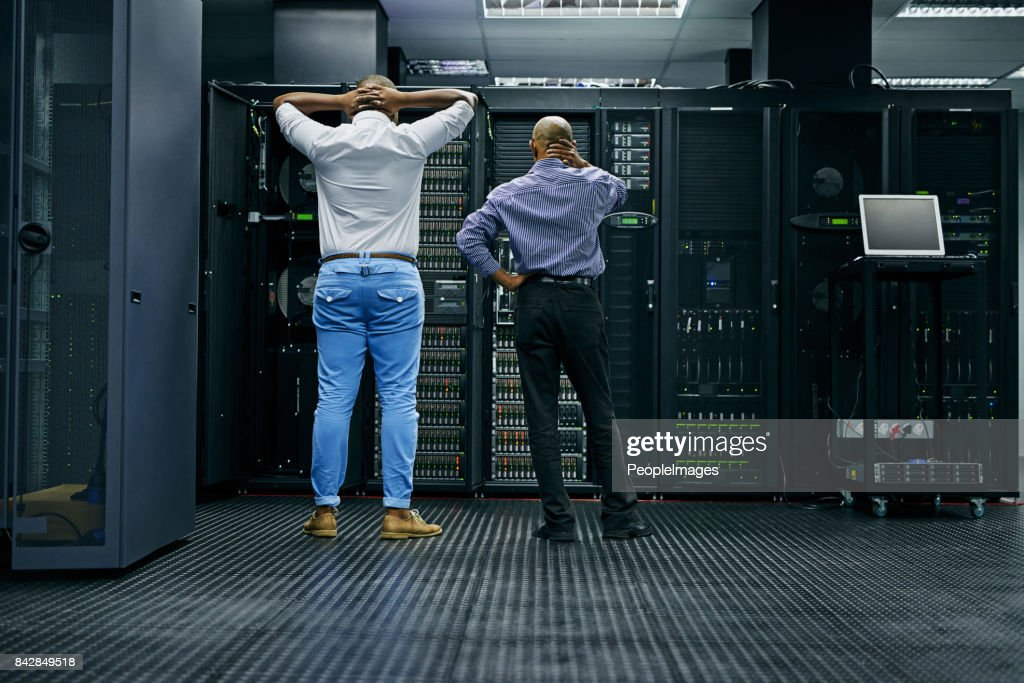 Meanwhile in the server room... : Stock Photo