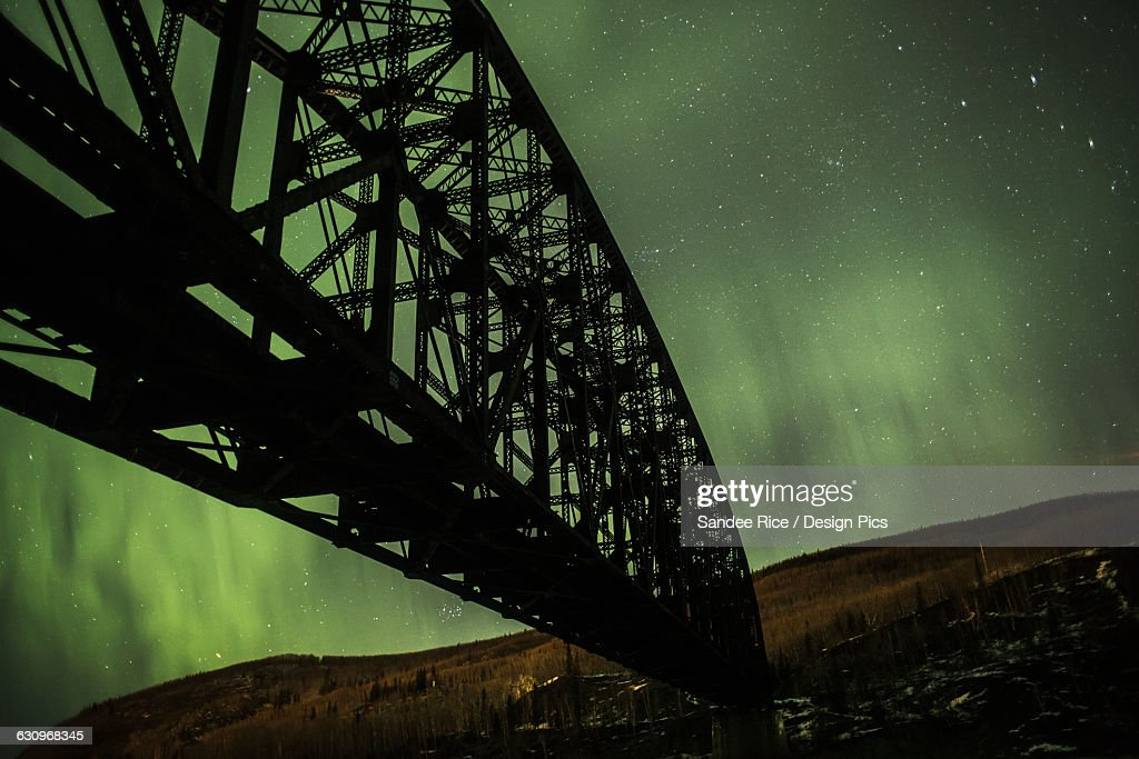 Mears Memorial bridge and Northern lights : Stock Photo