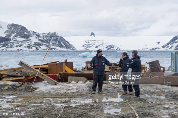 Measurement and recognition of the venue of the ceremony on November 05 2019 in King George Island Antarctica