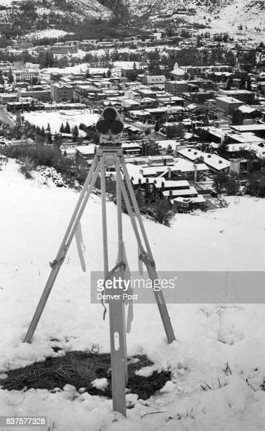 Measuring device stands on top of a hill overlooking Aspen The device is used to measure the movement of the mud slide which threatened the mountain...