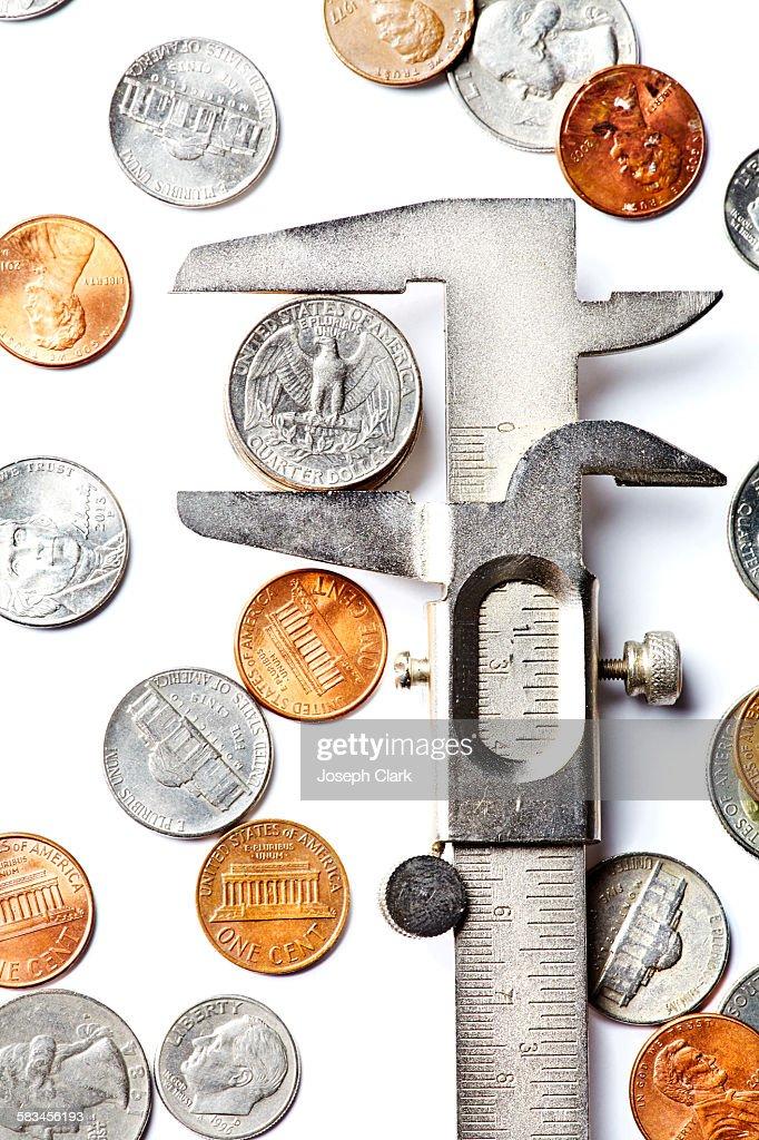 Measuring Money : Stock Photo