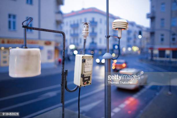A measuring station which measures the concentration of poisonous particulate matter in the air stands on a street in Berlin Neukoelln on February 15...