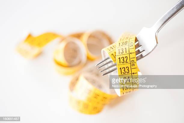 Measuring tape around fork