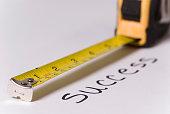 Measuring tape measuring text success