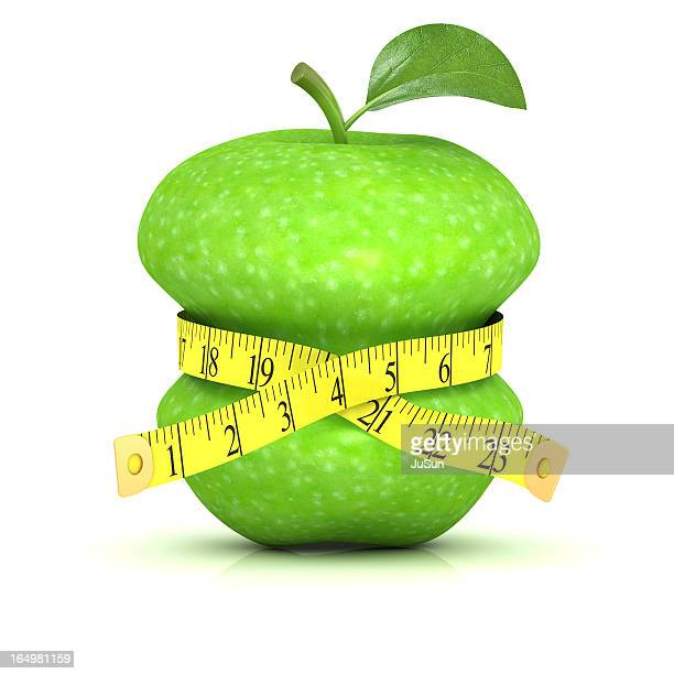 Measuring the waist of an apple with measuring tape