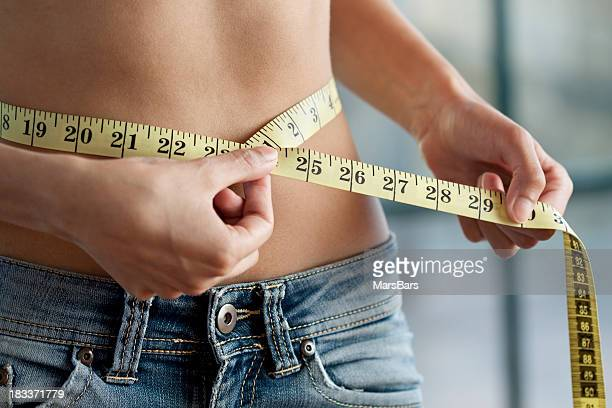 Measuring waist close up