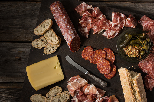 A meat and cheese platter. - gettyimageskorea