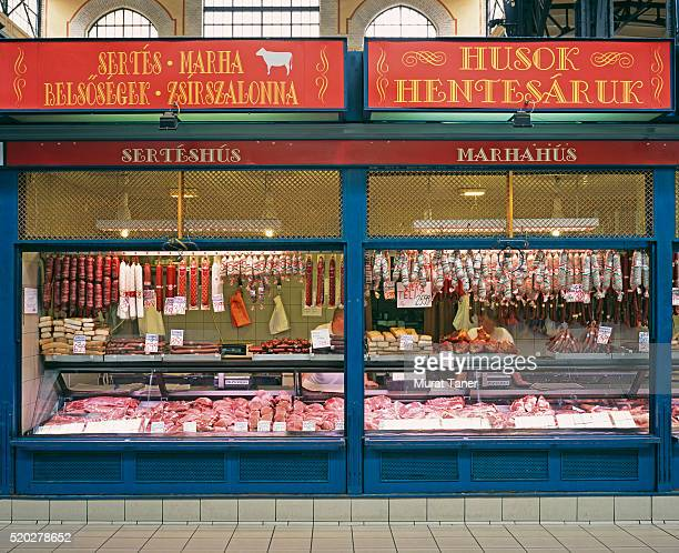 Meat and Salami Shop in the Central Market of Budapest