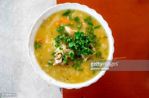 meat and vegetable soup - comida peruana fotografías e imágenes de stock