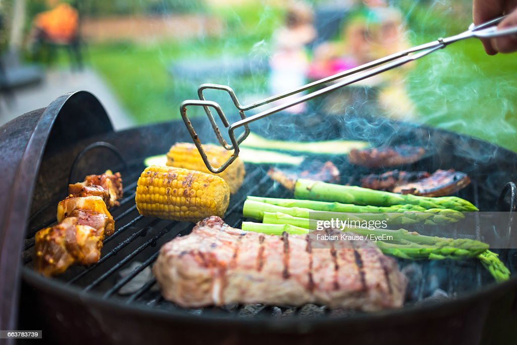 Meat And Vegetables On Barbecue Grill : Stock Photo