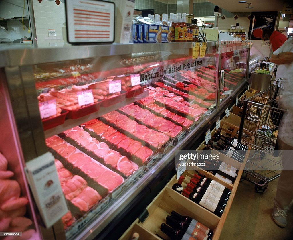 Meat counter in market : Stock Photo