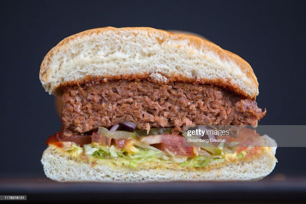 Meat Free Plant Based Burger : Stock Photo
