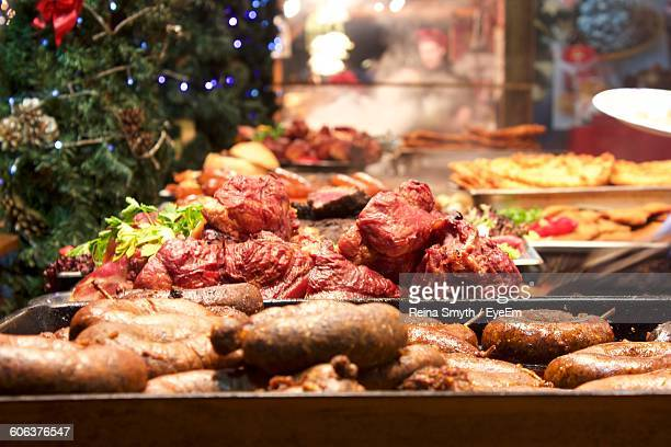 Meat In Containers At Market During Christmas