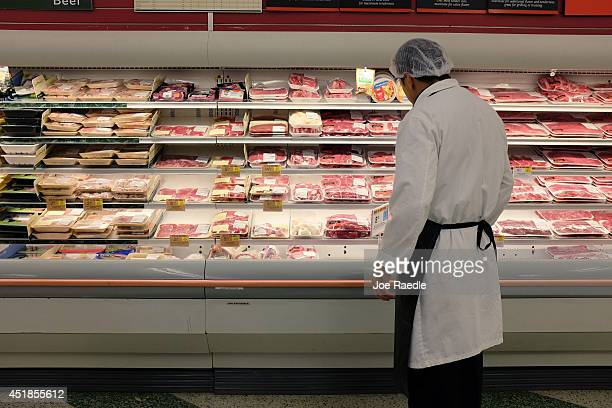 Meat is displayed in a case at a grocery store July 8 2014 in Miami Florida According to reports food prices have risen significantly with ground...