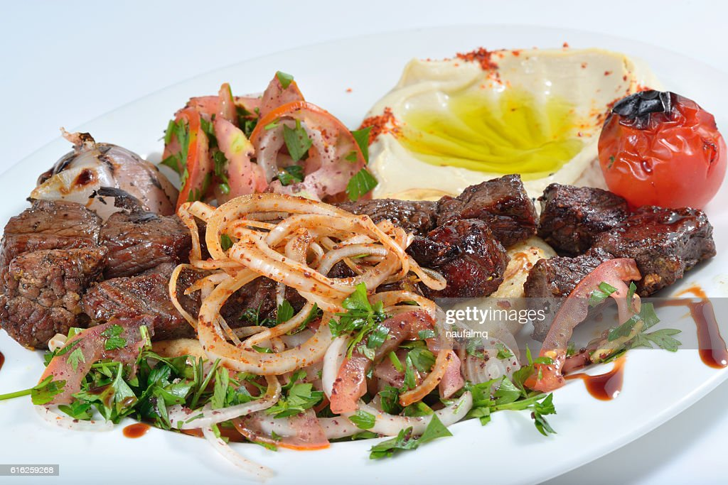 Meat kabab arabic food with kubus and hummus : Stock Photo