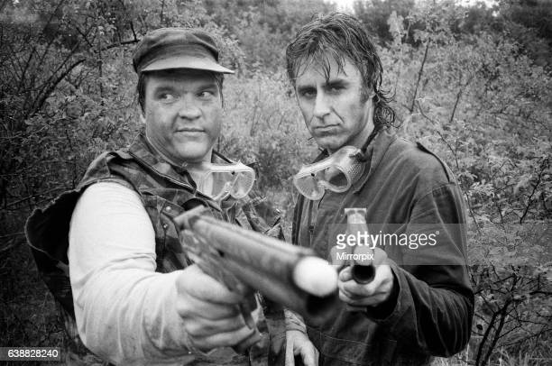 Meat Loaf and John Parr take part in a survival game in Common Wood near Hatfield 13th September 1986
