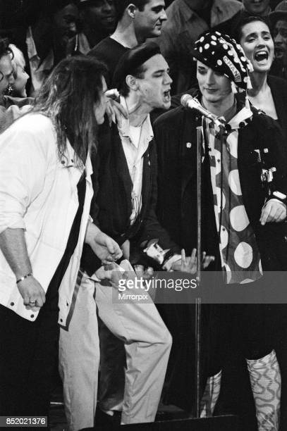 Meat Loaf Ben VolpelierePierrot and Boy George performing at the Stand by Me AIDS Day Benefit concert at Wembley Arena London 1st April 1987