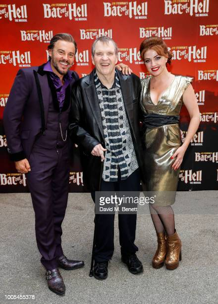 """Meat Loaf poses with cast members of the West End production of """"Bat Out Of Hell: The Musical"""" at Dominion Theatre on July 25, 2018 in London,..."""